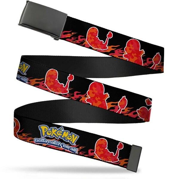 Blank Black Buckle Pokemon Charmander Silhouette Poses Flames Black Web Belt