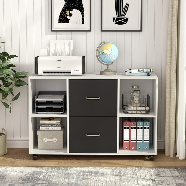 Lateral File Cabinet with 2 Dawers and Sheves, Filing Cabinet with Wheels. Opens flyout.