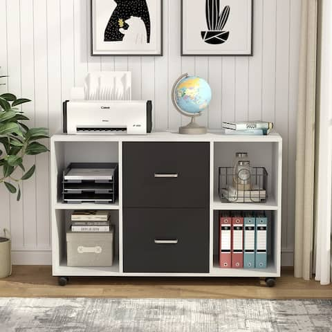 Lateral File Cabinet with 2 Dawers and Sheves, Filing Cabinet with Wheels