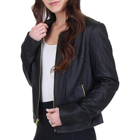 Via Spiga Women's Collarless Genuine Leather Jacket, Black, Small