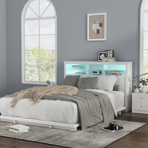 Queen Size Bookcase Headboard With A Hole For Passing Cords & Lights