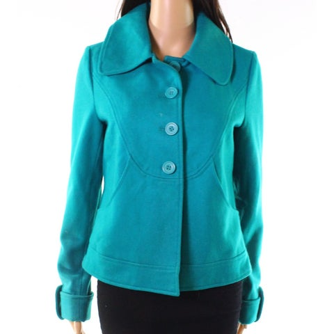 Tulle Jade Green Womens Size Medium M Four-Button Pocket Jacket
