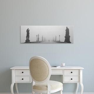 Easy Art Prints Panoramic Image 'Statues and lampposts on a bridge, Charles Bridge, Prague, Czech Republic' Canvas Art