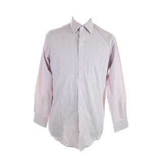 Club Room Claret Regular Fit Small Check Dress Shirt 15 32-33 M