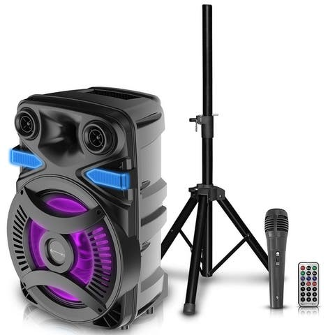 Technical Pro 300 Watts Rechargeable 15 Inch Bluetooth LED Speaker Package w/ Tripod & Microphone, LED Woofer, Wireless Remote