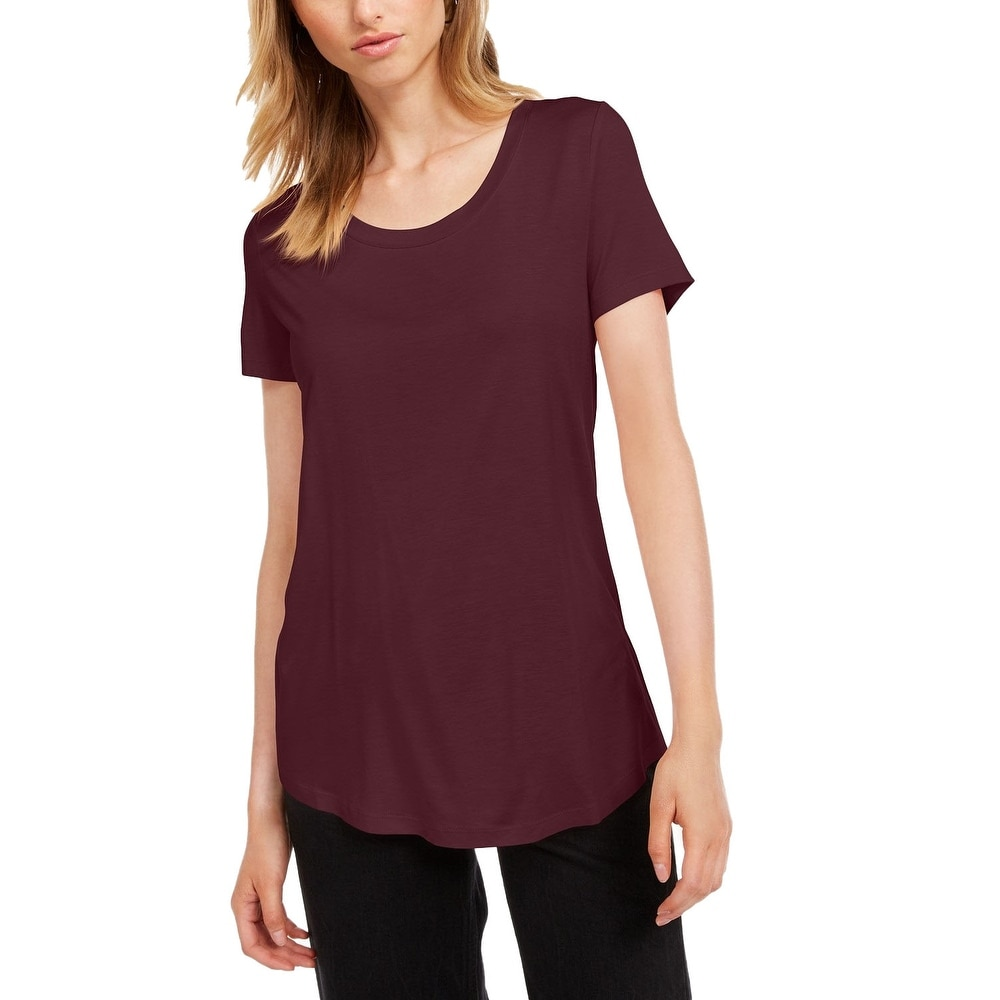 Maison Jules Womens Scoop-Neck T-Shirt Ruby Wine Size Small - Burgundy