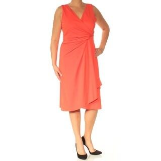 Womens Orange Sleeveless Knee Length Faux Wrap Cocktail Dress Size: 12