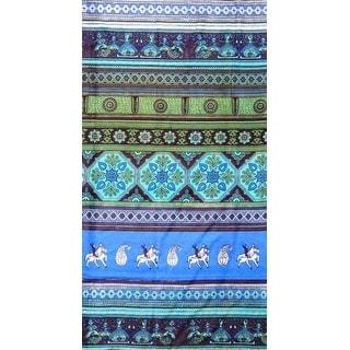 Handmade 100% Cotton Kalamkari Tie Dye Tapestry Bedspread Tablecloth Queen Green Blue