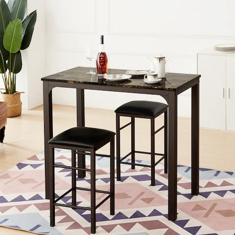 VECELO Home Kitchen Counter Dining Table Sets Morden Stlye (3PCS) 2 Options