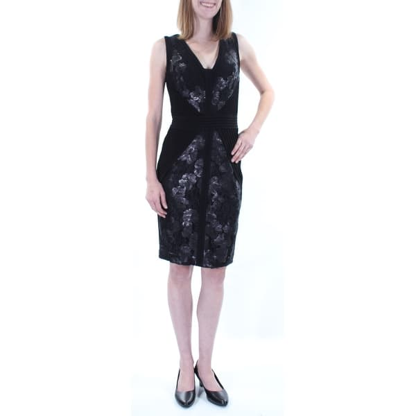 Calvin Klein 199 Womens New 1083 Black Floral Sequined Lace Sheath Dress 2 Bb
