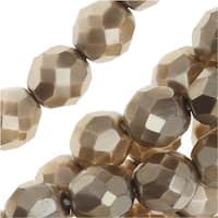 Czech Fire Polished Glass Beads, Faceted Round 8mm, 25 Pieces, Matte Light Gold