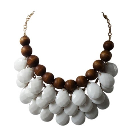 max & MO White Teardrop Wooden Bead Bib Necklace - wood-white