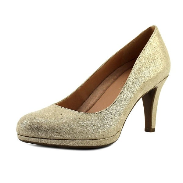 Naturalizer Michelle Women N/S Round Toe Canvas Gold Heels