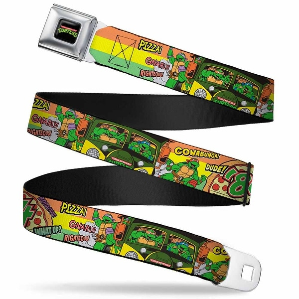 Classic Tmnt Logo Full Color Classic Tmnt Turtles Pose14 '84 Pizza Verbiage Seatbelt Belt