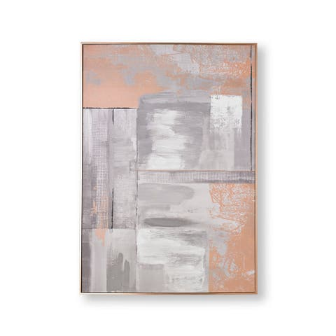 """Graham and Brown 104019 Rose Gold Glow 39"""" x 28"""" Framed Abstract Painting on Stretched Canvas - Rose Gold"""