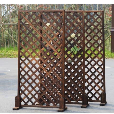 3Ft x 6Ft Wood Trellis Lattice Screen Privacy Fence - 3pcSet