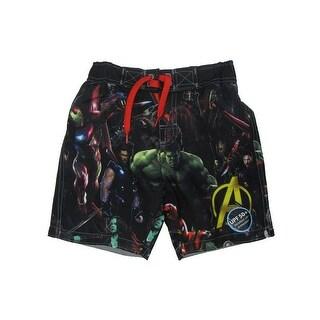 Marvel Little Boys Black Avengers Infiniti War Swim Shorts
