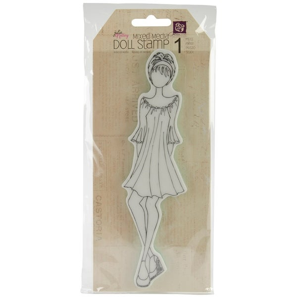 "Julie Nutting Mixed Media Cling Rubber Stamps-Doll W/Peasant Dress 2""X7.75"""