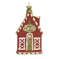 """4.25"""" Merry & Bright Red, White and Green Glitter Shatterproof """"Candy"""" House Christmas Ornament - RED"""