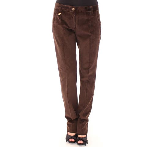 Brown Corduroys Straight Logo Casual Men's Pants