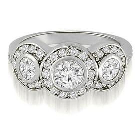 1.50 cttw. 14K White Gold Three-Stone Triple Halo Round Diamond Engagement Ring