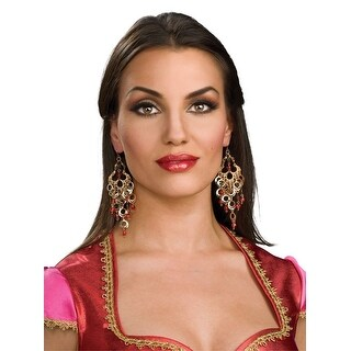 Indian Bollywood Jeweled Costume Earrings - Gold