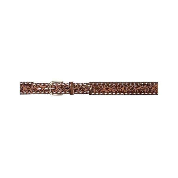 3D Belt Mens Western Leather Buckstitch Tooled Floral Natural