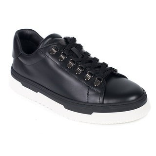 Valentino Mens Black Leather Low Top Lace Platform Sneakers