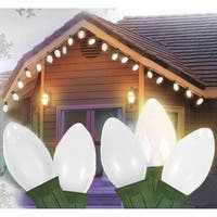 Set of 25 Opaque Clear White C9 Christmas Lights - Green Wire