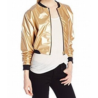 Jess Glynne X Bench NEW Gold Womens Size Large L Cropped Bomber Jacket