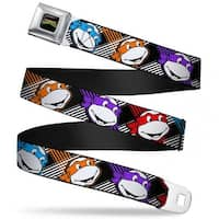 Classic Tmnt Logo Full Color Classic Tmnt Masked Faces Stripes Black White Seatbelt Belt