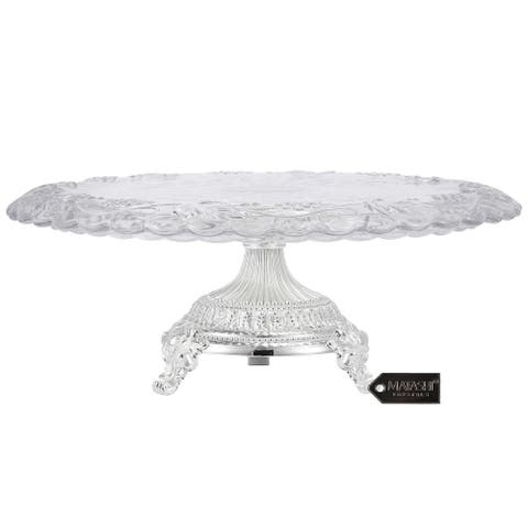 Matashi Crystal Glass Etched Cake Plate Centerpiece, Round Serving Platter w/ Silver Plated Pedestal Base for Weddings, Parties