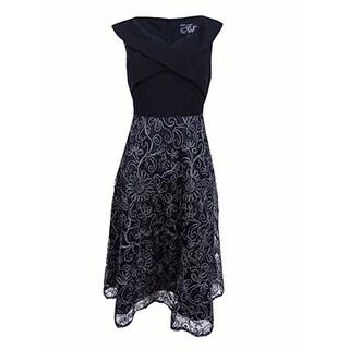Alex Evenings Petites A-Line Tea-Length Party Dress, Black/Silver, 16P