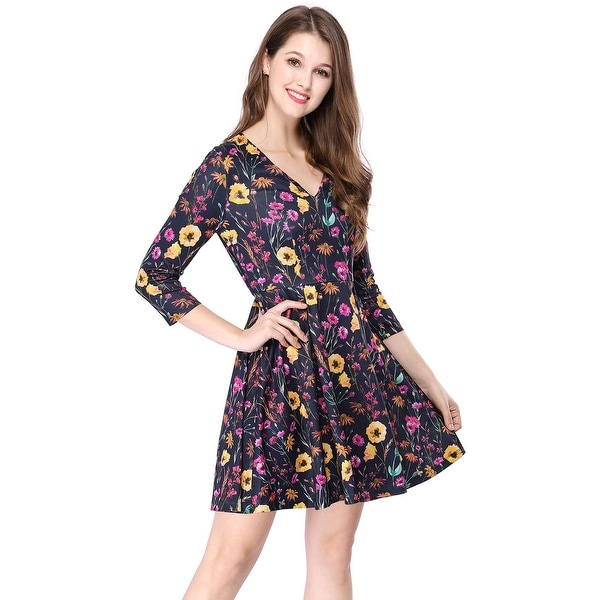 Shop Women s V Neck 3 4 Sleeve Vintage Floral Swing Party Skater ... 8e83712aa4
