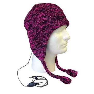 Boss Tech Aviator Style Knit Hat with Earflaps and Built-In Stereo Headset (Pink