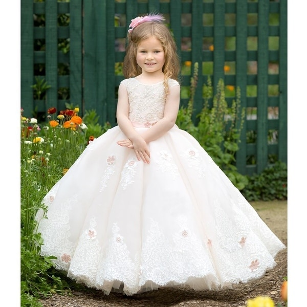 afa194216acf Triumph Dress Little Girls Pink Crystal Adorned Anastasia Flower Girl Dress