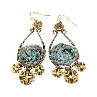 """Anju Jewelry Blue & Gold Swirls Earrings - Handmade of Brass & Fabric, Hangs 3"""""""