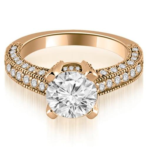 1.70 cttw. 14K Rose Gold Antique Milgrain Round Cut Diamond Engagement Ring