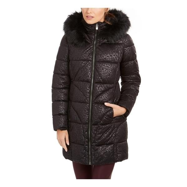 Via Spiga Womens Puffer Coat Winter Leopard Print - Black