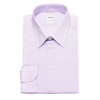 Armani Collezioni Men Slim Fit Cotton Dress Shirt Lilac - White