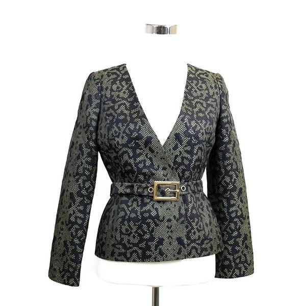 7c81d39014 Shop Gucci Women's Green Black Cotton Silk Acrylic Print Belt Runway ...