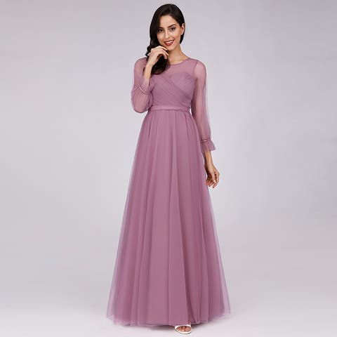 Ever-Pretty Womens Tulle Long Sleeve Evening Prom Bridesmaid Dress 07663