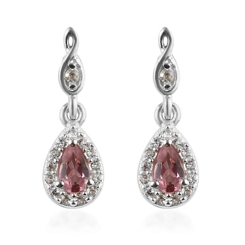 Platinum Over Sterling Silver Pink Tourmaline Zircon Dangle Earrings