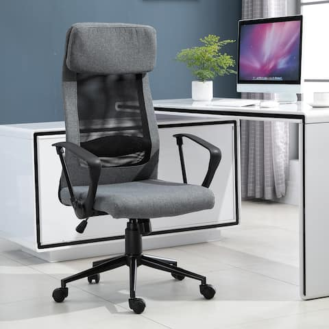 Vinsetto Breathable Home Office Chair Executive Height Adjustable Rolling Swivel Chair with Tilt Function - 24.5*25.25*48.75