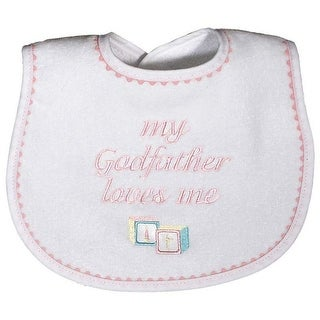 """Raindrops Baby Girls """"My Godfather Loves Me"""" Embroidered Bib, Pink - One size"""