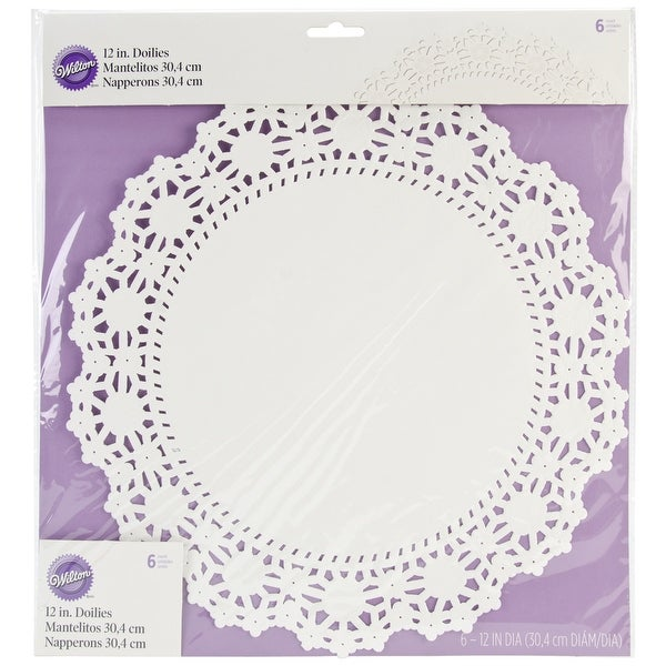"Greaseproof Doilies-12"" Round White 6/Pkg"