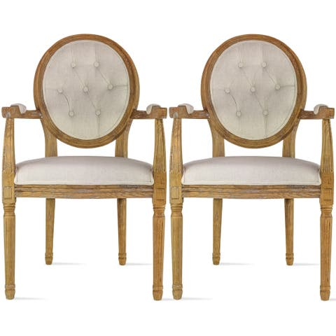 Set Of 2 Cream Color Upholstered Button Tufted Back Fabric Plastic Style Dining Modern Arm Chair With Padded Solid Wood Legs