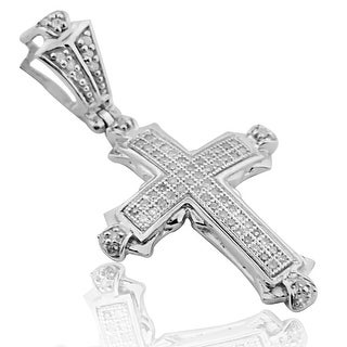 Small Diamond Cross Charm Ladies 1/5cttw Pave Round Diamonds 28mm Tall(i2/i3, I/j) By MidwestJewellery - White
