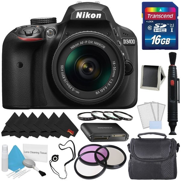 Nikon D3400 DSLR Camera with AF-P 18-55mm VR Lens (Black) 1571 International Model Starter Kit