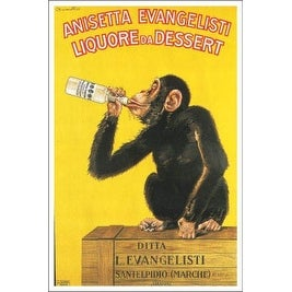''Anisetta Evangelisti Liquore da Dessert'' by Carlo Biscaretti Vintage Advertising Art Print (36 x 24 in.)